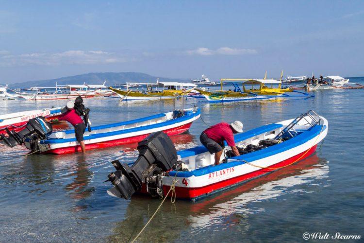 Dive skiffs used by Atlantis Resort in Puerto Galera.