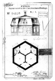Harriet Morrison Irwin, Casa Hexagonal. Alzado y Planta para el registro de la patente (1869)