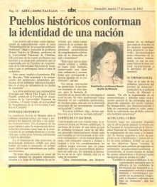 Noemí Goytia, artículo en periódico de Paraguay