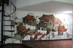 Ofelia Sanou Alfaro. Casa en Birri 1979 mural de felo garcia