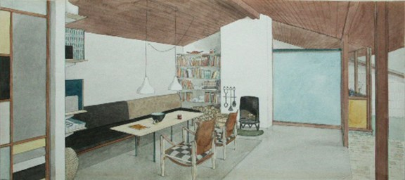 Karen y Ebbe Clemmensen, Casa propia (Gentofte, 1953): Perspectiva interior del comedor. Acuarela