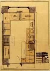 Margarete Schütte-Lihotzky, Plano de una de las disposiciones posibles de la cocina de Frankfurt