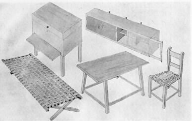 Clara Porset, Dibujo de los muebles de Clara Porset para concurso Oganic Design for Home Furniture en MOMA, Nueva York, 1941