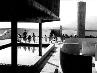 Guardería en la cubierta de la Unité d'habitation de Marsella, diseñada por Blanche Lemco y Le Corbusier, 1947-1952