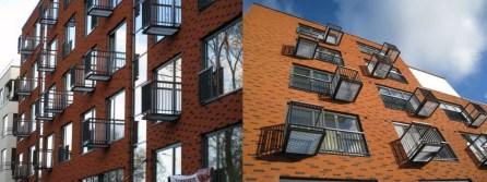Mai Šein y Andrus Padu: Edificio de apartamentos en la Calle Sõpruse n.31 (Tallinn). Detalle fachada principal y lateral.