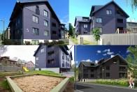 Mai Šein: Edificio de apartamentos en Calle Vabriku n.8a. Vistas exteriores e imagen de maqueta digital.