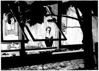 "Anna Bach. Ilustraciones Ciclo ""Cine, Naturaleza y Arquitectura"": ""La noche / La notte"". Director: Michelangelo Antonioni. ArquinFAD. 2013."