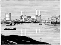 """Anna Bach. Ilustraciones Ciclo """"Cine, Naturaleza y Arquitectura"""": """"London"""". Director: Patrick Keiller. ArquinFAD. 2013."""