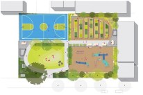 Kate Orff, SCAPE, drawing of 103 street community garden, NY EUA, 2012.