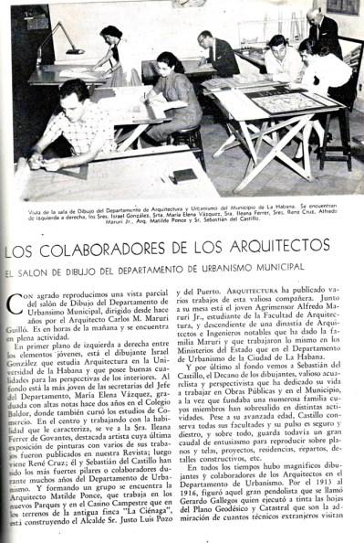 Matilde Ponce Copado, Reseña de la revista Arquitectura Cuba, Parte II Cuba, 1957.