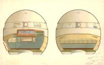 Galina Galina Balashova. Modulo habitable Soyuz-sketch diseño aprobado 1963.