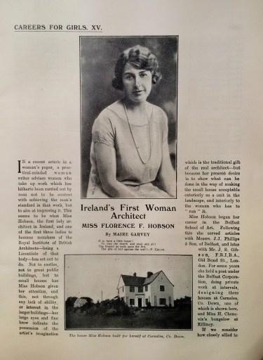 """Florence Fulton Hobson. Artículo en revista Crystal. """" Primera mujer arquitecta de Irlanda"""""""