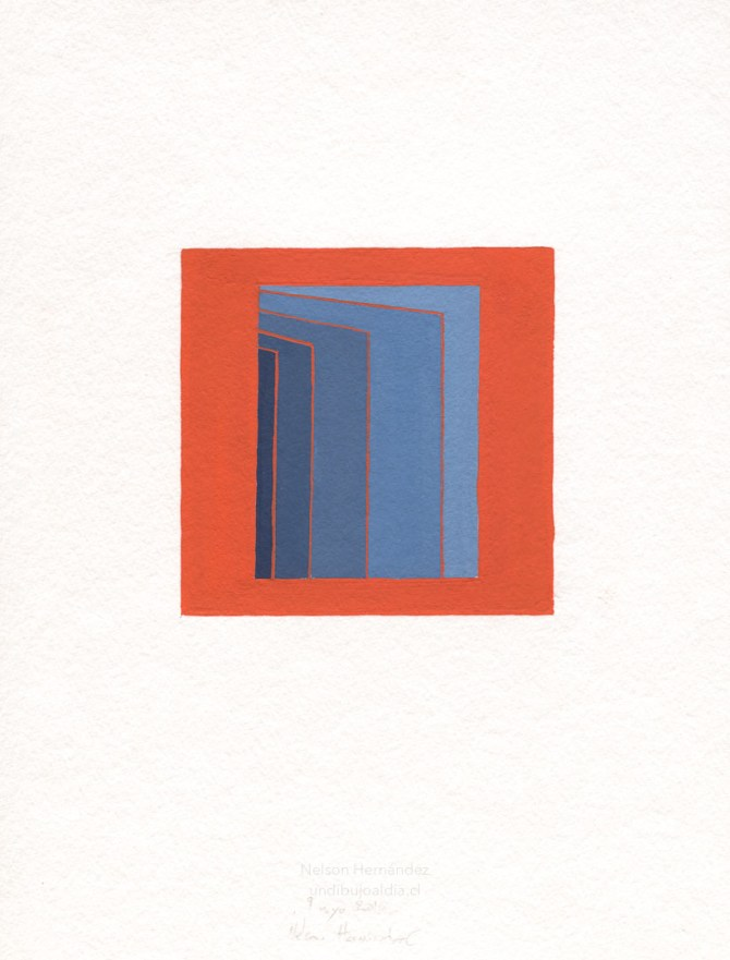 cuadrados azules sobre fondo naranja