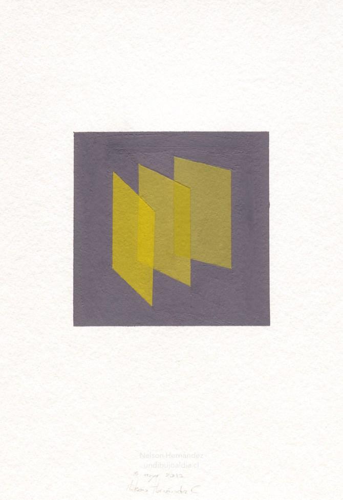 tres cuadrados amarillos sobre fondo morado