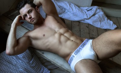 Garcon Model White Briefs Lying Down