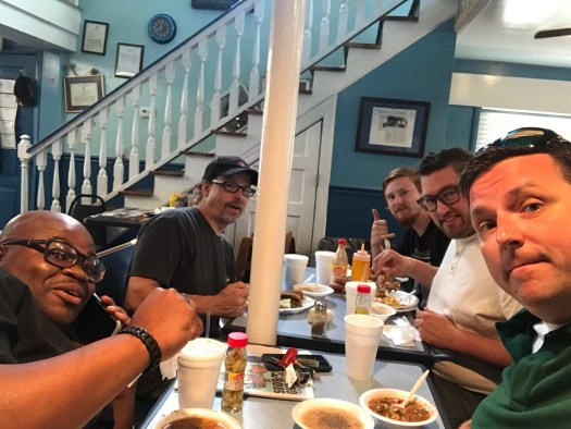 Undiscovered Charleston chef Forrest Parker & friends eating lunch at Bertha's Kitchen.