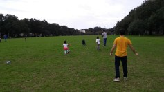 Nic and Teresa got to finally spend some quality time with their god children. Here they are playing soccer in the park.