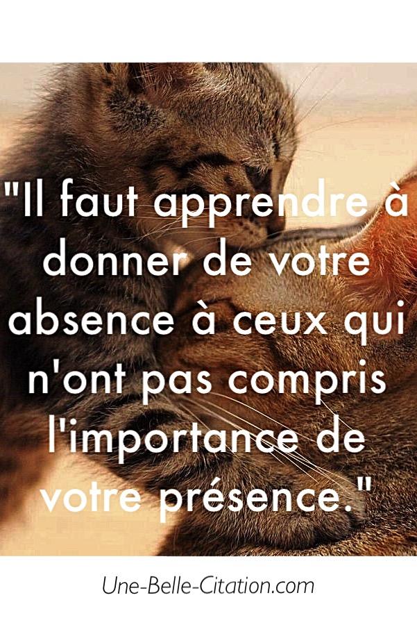 Il faut apprendre à donner de votre absence à ceux qui n'ont pas compris l'importance de votre présence.