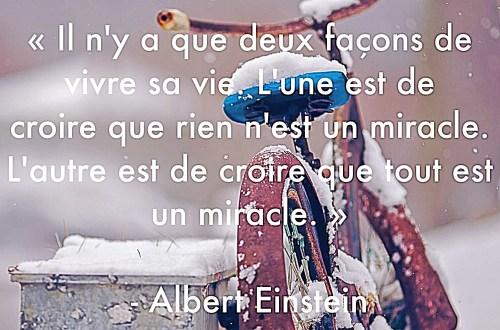 """""""Il n'y a que deux façons de vivre sa vie. L'une est de croire que rien n'est un miracle. L'autre est de croire que tout est un miracle."""" Albert Einsten"""