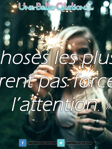 « Les choses les plus belles n'attirent pas forcément l'attention. »
