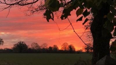 Lever du jour sur la campagne, en teinte rose et violet