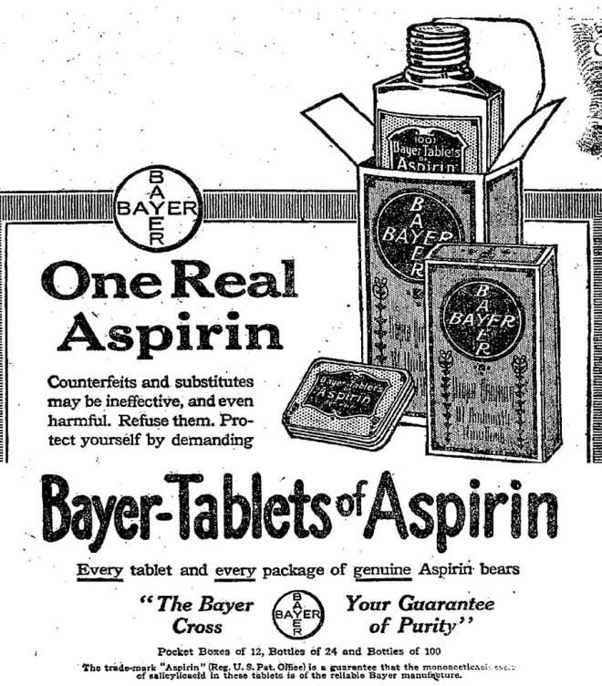publicité pour l'aspirine Bayer en 1917