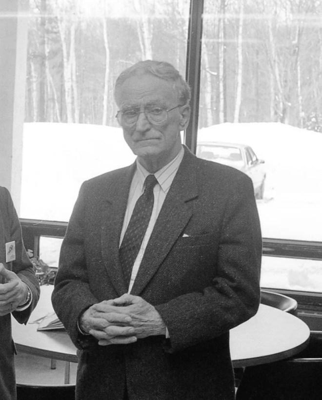 Claude Ryan, c. 1988, visit to high school, Quebec City area