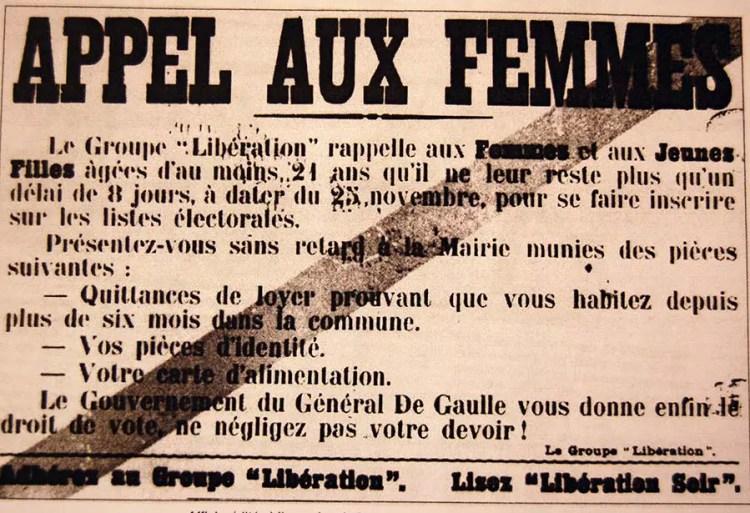 Appel aux femmes, affiche ÈditÈe ‡ l'occasion du premier vote des femmes, le 29 avril 1945