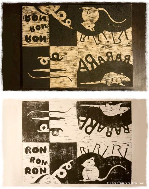 Créer un livre en gravure sur bois - Encrage et tirage