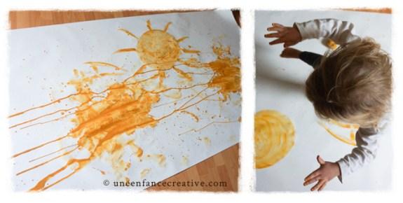 Peinture jaune jour de pluie