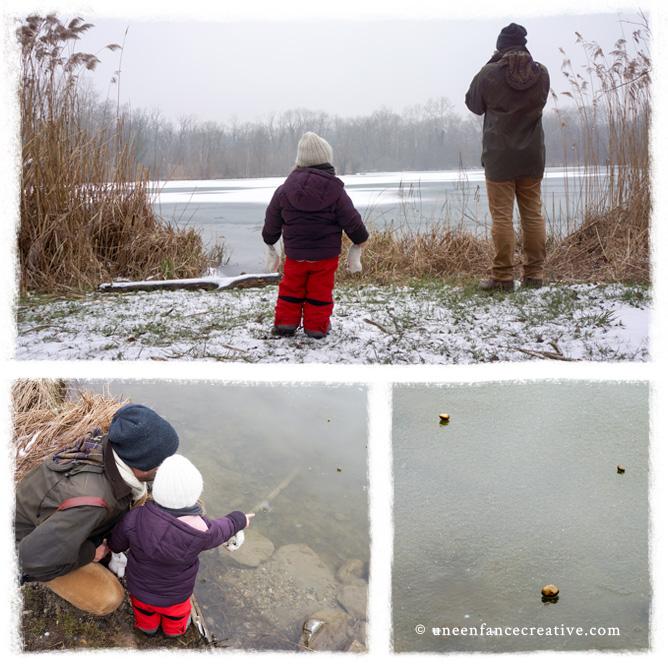 Jeter des cailloux sur l'étang gelé