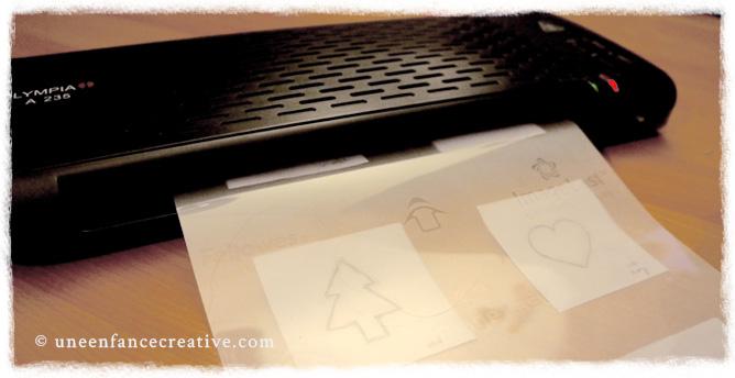 Plastification des dessins pour fabriquer les pochoirs
