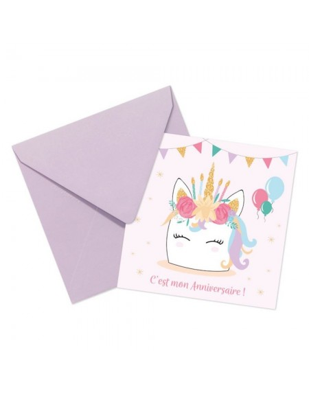 cartes invitation licorne