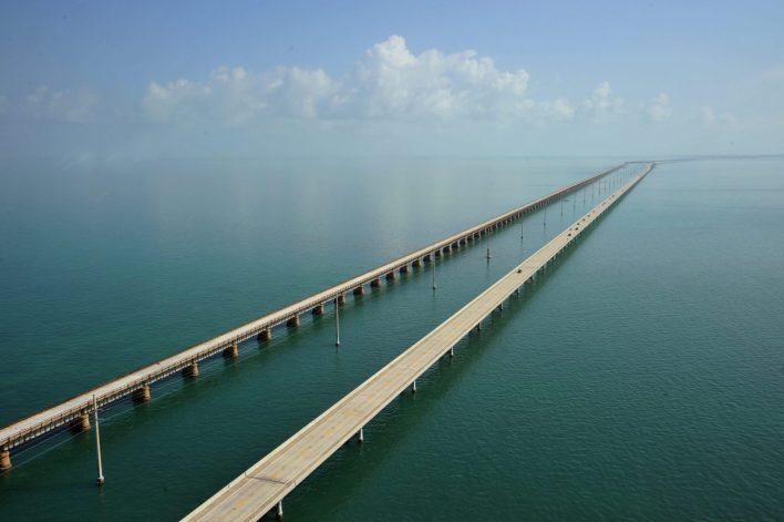 The Seven Mile Bridge looking north towa