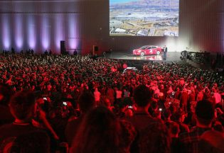 Model 3 Delivery Event Crowd