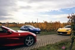 Road-Trip Ferrari Paris-Mulhouse 812 Superfast Portofino GTC4 Lusso face avant