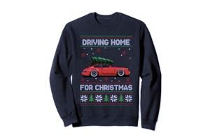 Pull moche de Noël Porsche 911 et sapin