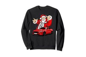 Pull moche de Noël Ford Mustang et Père Noël