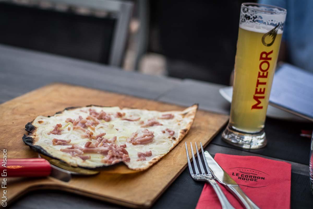 Tarte Flambée bière météo au Restaurant le Cordon Rouge à Furdenheim - Photo Céline Schnell Une Fille En Alsace