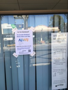 AUWU leaflet in window of Sarina Russo offices