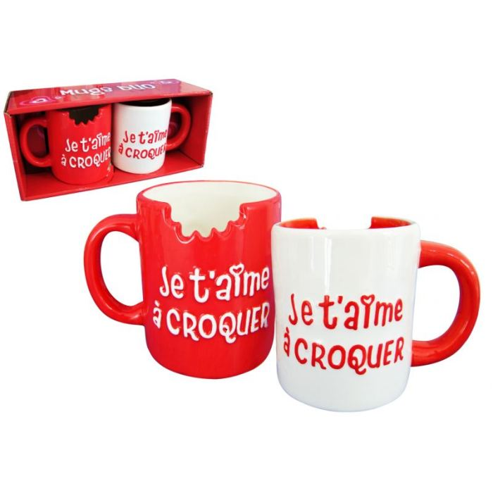 Duo de mugs _Je t'aime à croquer_ 7€90