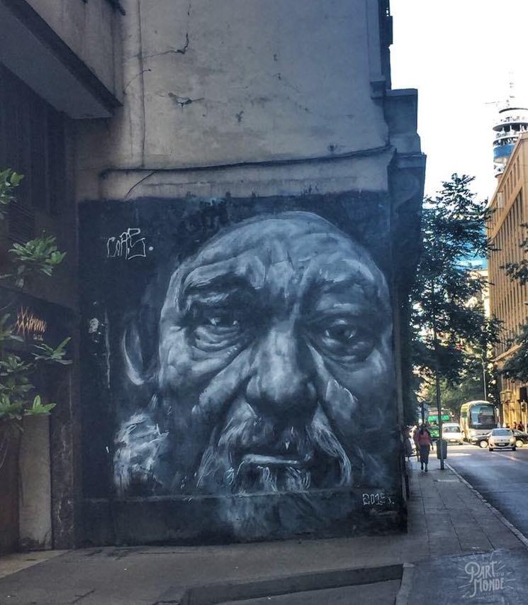 street art viel homme mur santiago du chili