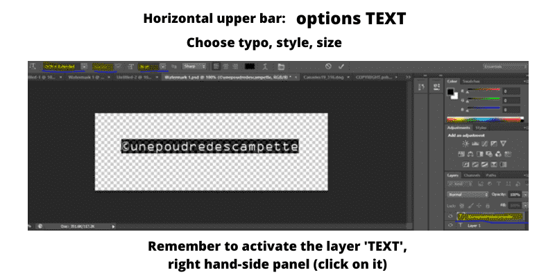 Customize-movement-of-text-How-to-watermark-in-Photoshop
