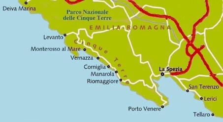 Overzichtskaart van Cinque-Terre en omgeving