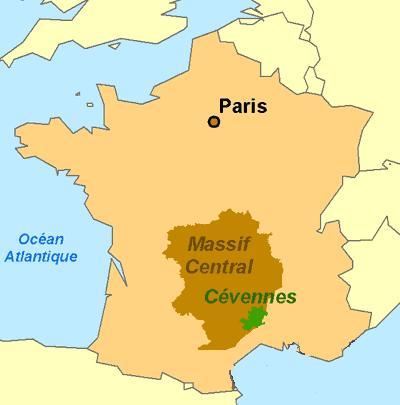 Kaart die de locatie van Causses en Cevennes in Frankrijk aangeeft