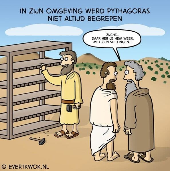 Stripfiguur die met een fysieke stelling van Pythagoras aan komt zetten