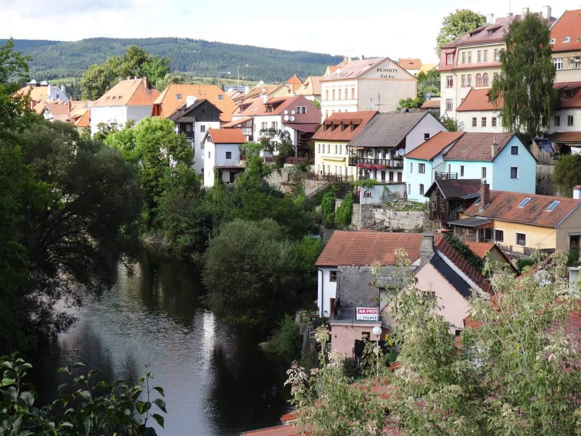 Kleurrijke huisjes aan de Moldau in Český Krumlov
