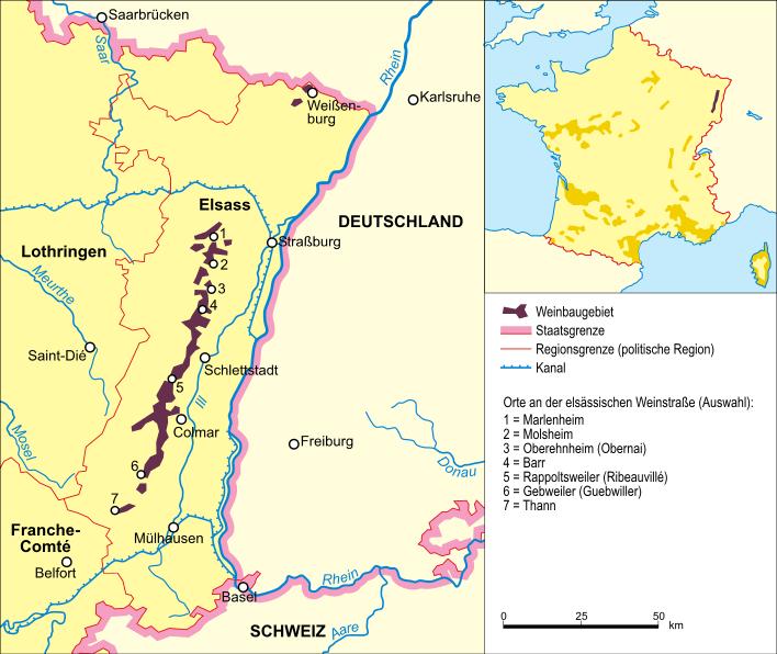 Landkaart van Elzas