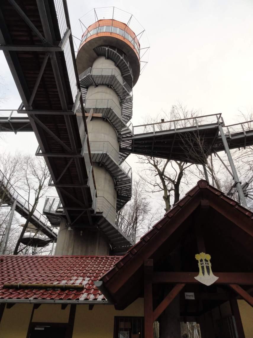 Ronde toren met trap die naar boomkroonpad leidt