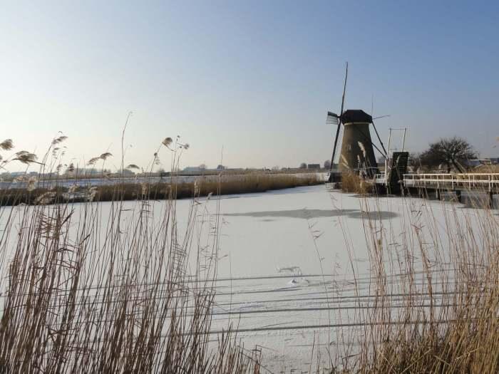 Museummolen Nederwaard met ophaalbrug tussen rietkraag en ijsvlakte